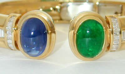 1318 18K Gold Bangle w/ Emerald/ Sapphire/ Diamonds - 3