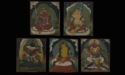 A Group of 5 Tibetan Thangka