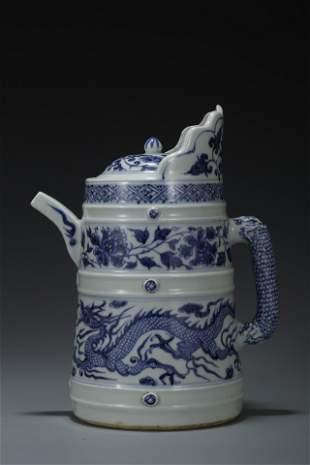 A BLUE & WHITE 'Dragon' EWER, DUOMUHU. YUAN DYNASTY.