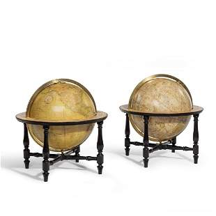 A pair of Cary's 15-inch table globes, 1818