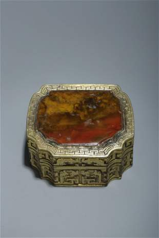 A GILT-BRONZE WITH AGATE-INLAID 'Dragon' BOX AND COVER.