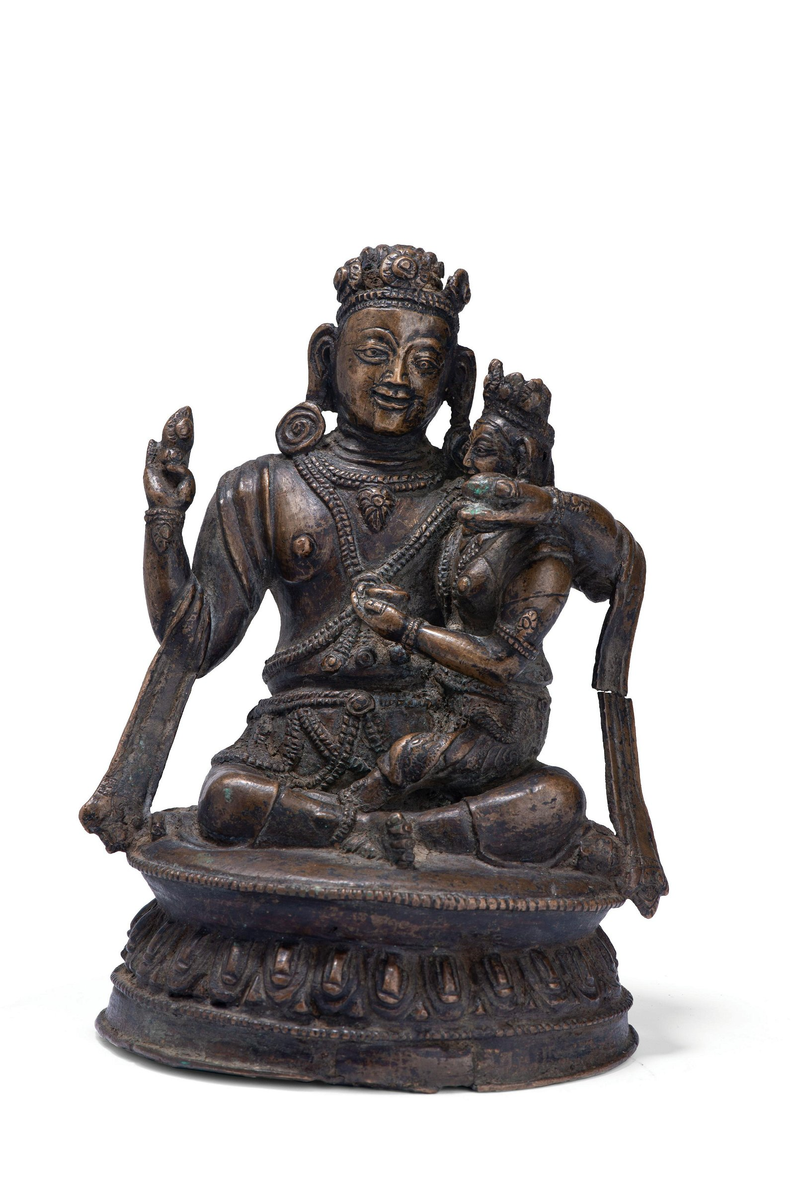 A COPPER ALLOY FIGURE OF MAHASIDDHA, MUSTANG