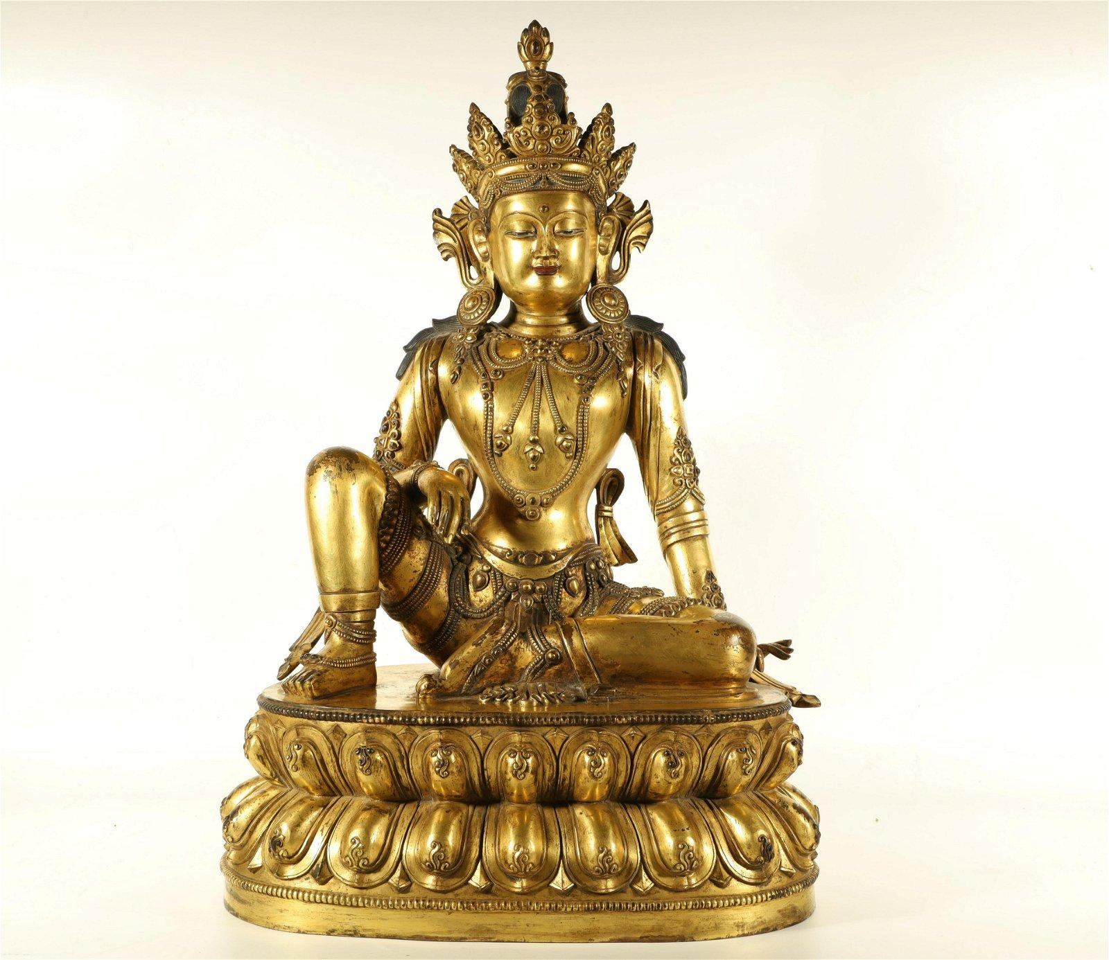 A Rare Gild-bronze Figure Of Buddha