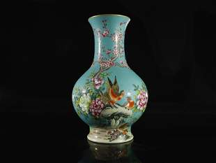 A Turquoise-Ground Famille-Rose 'Flower' Vase