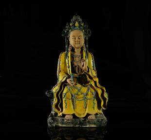 A Magnificent and Fine Fahua Figure of Guanyin