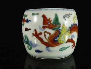 A Fine Blue and White Wucai Dragon Pattern Tea Caddy