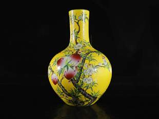 A Yellow-Ground Famille-Rose 'Peach' Vase