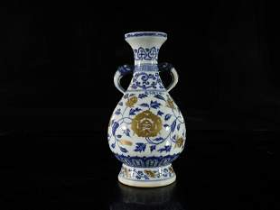 A Blue and White Painted Gold 'Flower' Vase