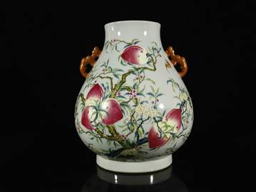 A Rare Famille-rose 'Peaches' Handle Pot