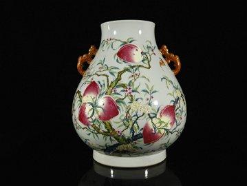 A Rare Famille-rose 'Peaches' Handle Pot