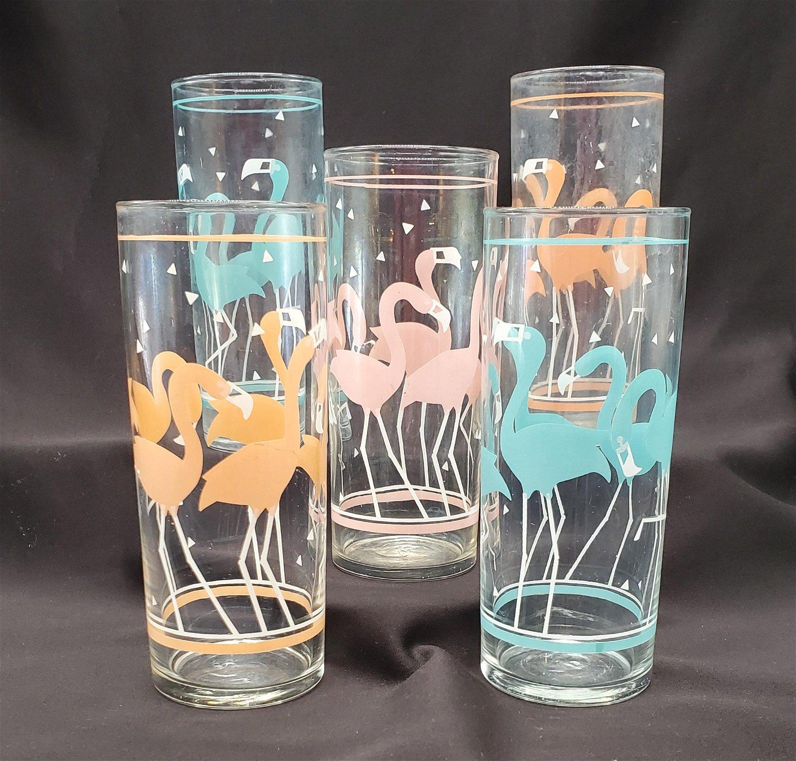 Mid Century Modern Libbey Flamingo Glasses