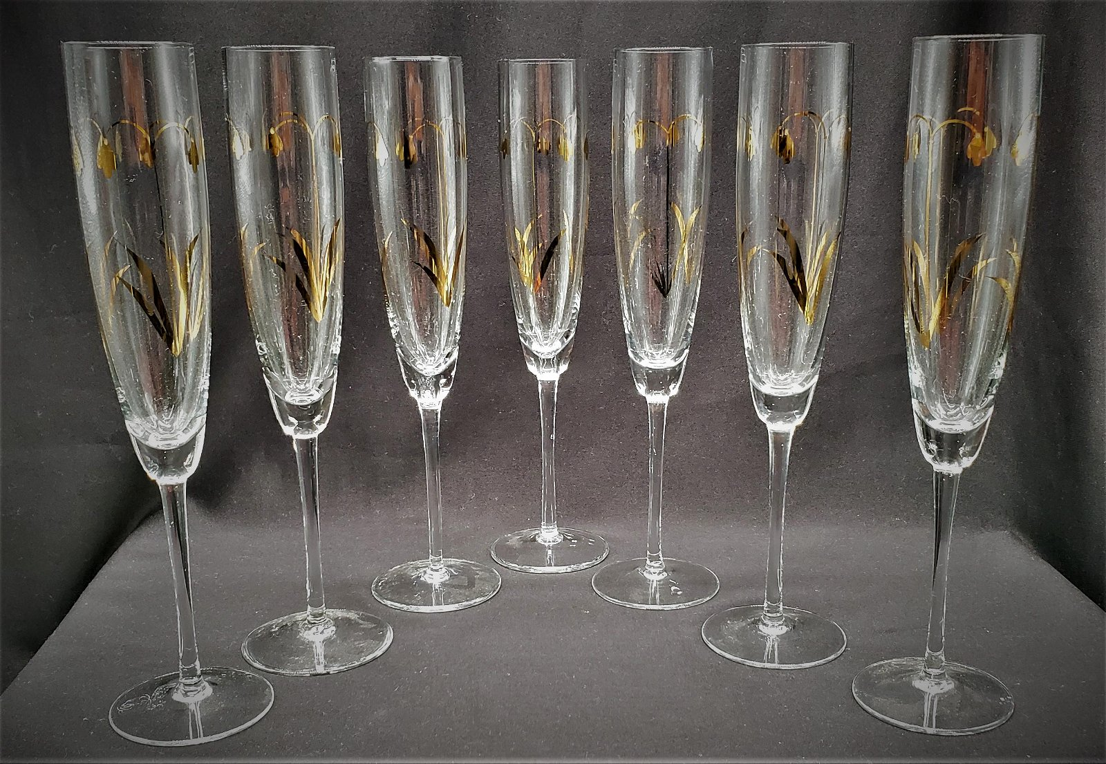 Crystal Champagne Glasses with Gold Trim