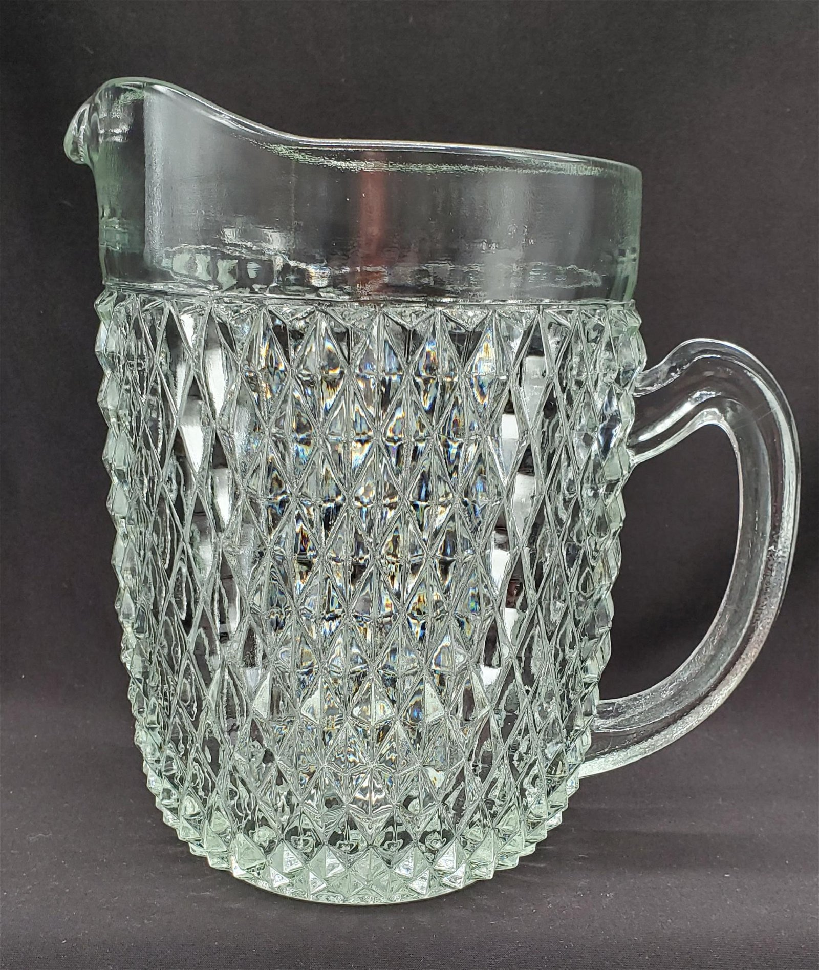 Vintage Diamond cut Glass Pitcher