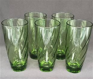 Vintage Avocado green glasses set