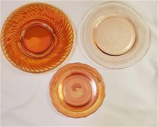 Vintage Marigold Carnival glass candle holders