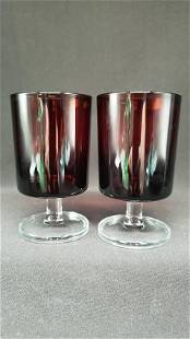Vintage Ruby Red Arcoroc French Goblets