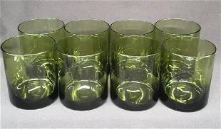 Vintage Avocado green dyed rocks glasses