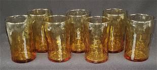 Vintage amber juice glasses set