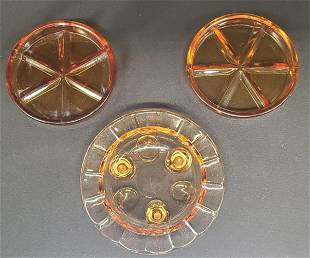 Collection of Vintage Amber glass ashtrays