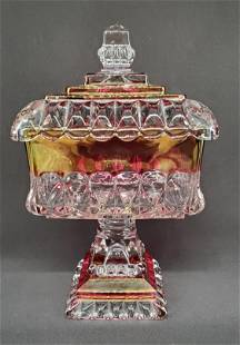 Vintage square ruby red crystal candy dish