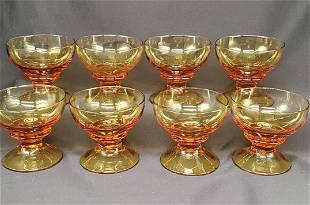 Vintage amber footed dessert cups set