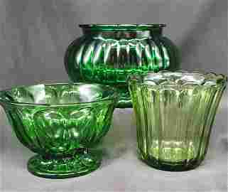Collection of Vintage green glassware