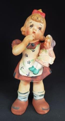 Vintage Ceramic Girl with Baby Doll