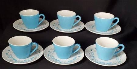 Blue Heaven Six Flat Cups & Saucer Set