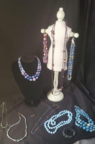 Collection of vintage beaded costume jewelry