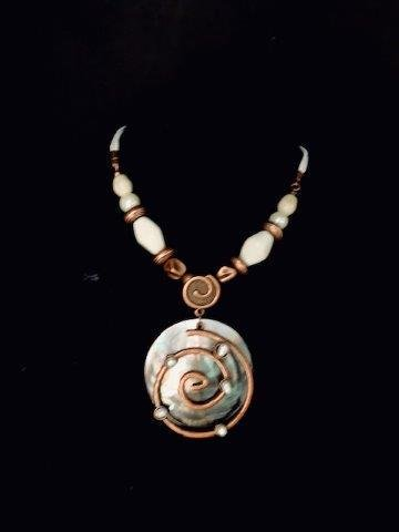 Artistic Copper and Shell Necklace