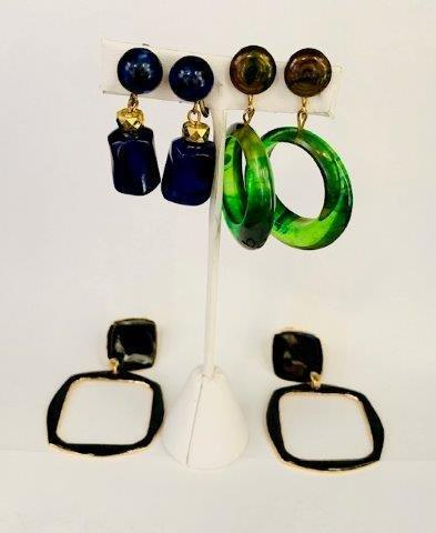 Trio fo Amazing Vintage Clip Earrings