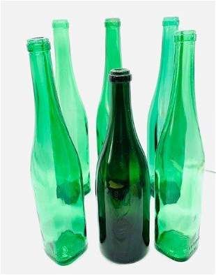 Collection of Six Vintage Green Glass Bottles