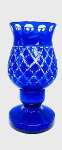 Cobalt Blue Cut to Clear Candle Lantern