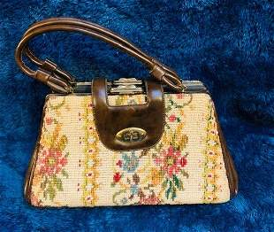 Vintage Leather and Needlepoint Handbag
