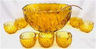 Large Vintage Amber Glass Punch Bowl Set
