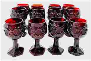 Vintage Ruby Red Cape Cod Wine Glasses by Avon - 12
