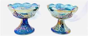 Pair of Vintage Harvest Grape Carnival Glass