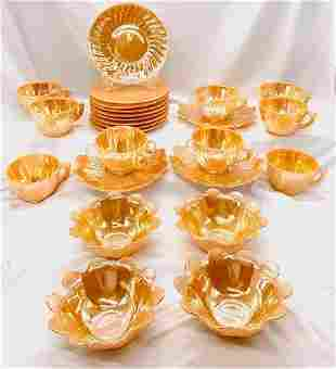 Vintage Peach Luster by Glasbake - 25 Pieces