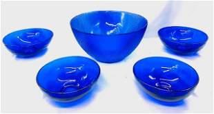 Vintage Cobalt Blue Bowl Set - 5 Pieces