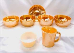 [7] Assorted Pieces - Peach Luster Dishware