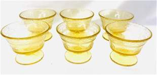 Vintage Yellow Depression Glass Dessert Cups - 6 Pieces
