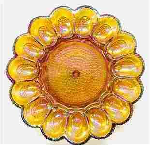 Iridescent Vintage Carnival Glass Deviled Egg Tray