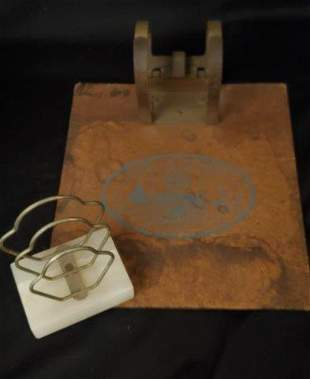 Vintage Clip Board and Marble Stand Holder