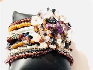 Multi-Strand Figural Flower Bead Wrist Cuff Bracelet
