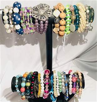 Collection of Stretch Bracelets - 30 Pieces