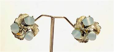 Vintage Thermo Set Lucite Sky Blue Earrings by Laguna