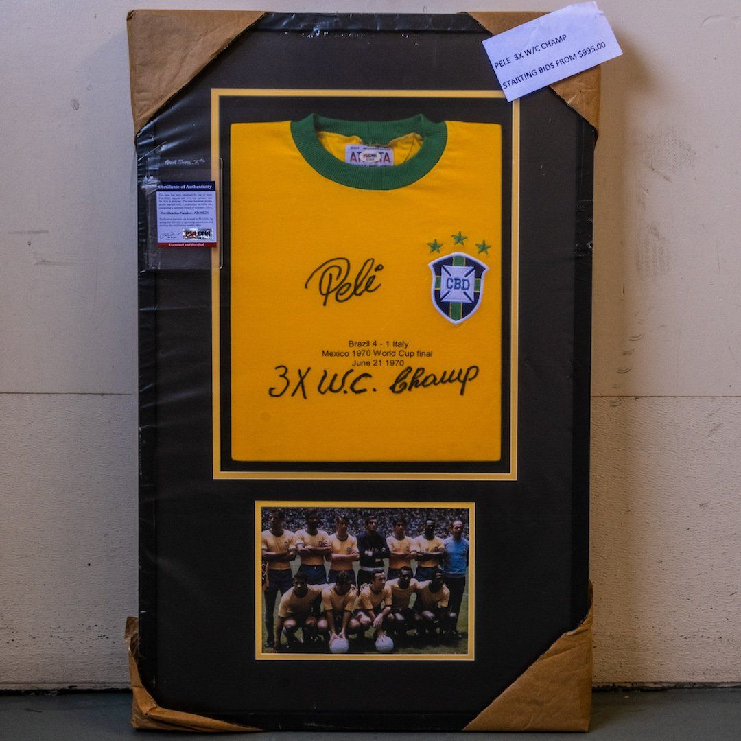 """Pele signed """"3x World Cup Champ inscribed"""" jersey PSA"""