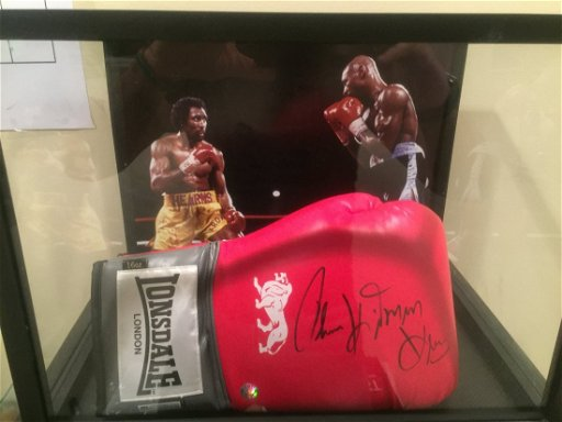 Boxing Glove Signed By Thomas Hitman Hearns Oct 18 2019 Ngu Memorabilia In Ca