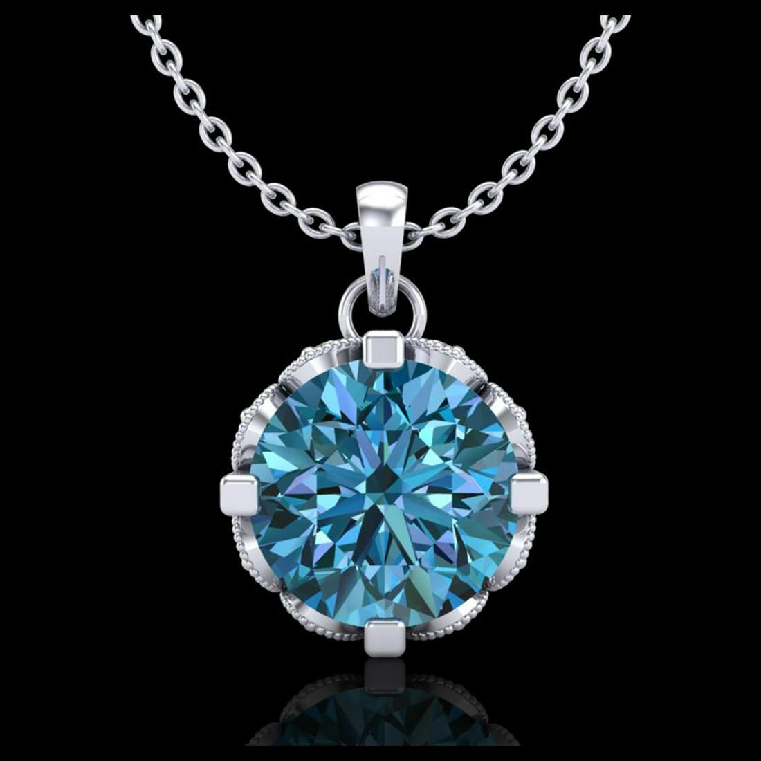 1.50 ctw Fancy Intense Blue Diamond Art Deco Necklace
