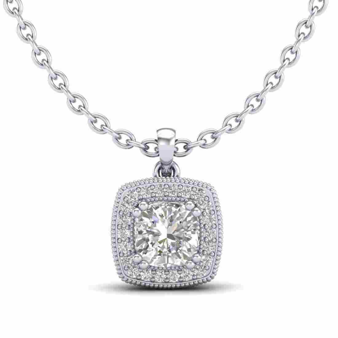 1.25 ctw Cushion Diamond Art Deco Necklace 18K White